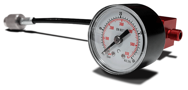 adjust suspensions pressure with analogical pressure gauge for suspensions